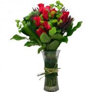 One Dozen Red Rose in Vase Arrangement