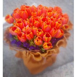 50pcs Orange Tulips Bouquet