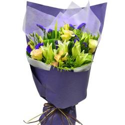 5pcs Pure White Color Lily Bouquet