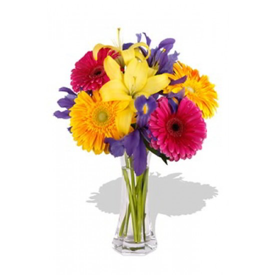 Mixed Bouquet , 4 Gerbera and 1 Lily Vase Bouquet